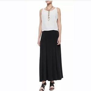 Eileen Fisher Black Silk Georgette Crepe Maxi NWT